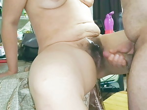 Cumshot on my wife's hairy cootchie