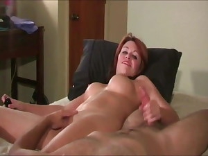 Red-haired with big tits – mutual masturbation with her partner