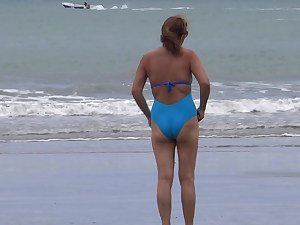 MY Wooly LATINA Wifey Strokes AFTER THE BEACH, ORGASM