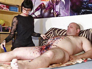 Cbt w Wax torment by sexy goth domina for fat slave pt2